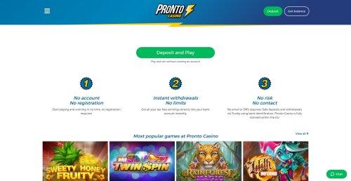 livecasino.nl review Pronto casino screenshot
