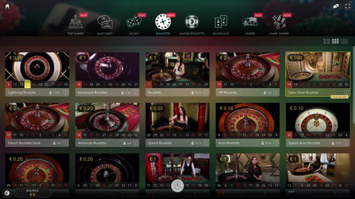 livecasino.nl - Lobby van Evolution Gaming bij een online casino. Overzicht rouletet spellen
