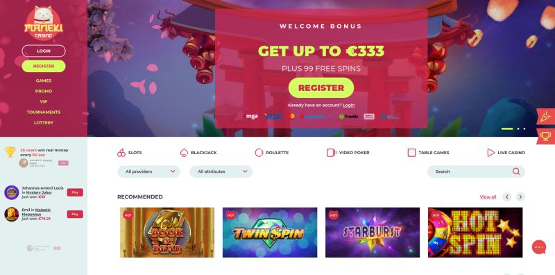 maneki casino homepage screenshot 800px wide